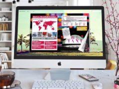 Flipbook Creator com um efeito de flip na tela do computador